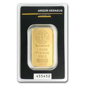 A 1 Troy Ounce Gold Bar from Argom-Heraeus